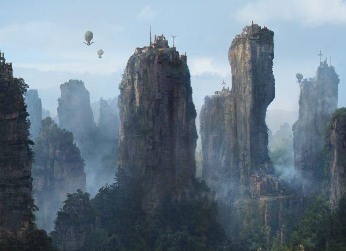 Горная деревня туман сказка небо горы