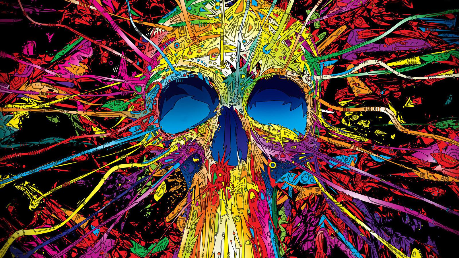 Красочный череп череп краски