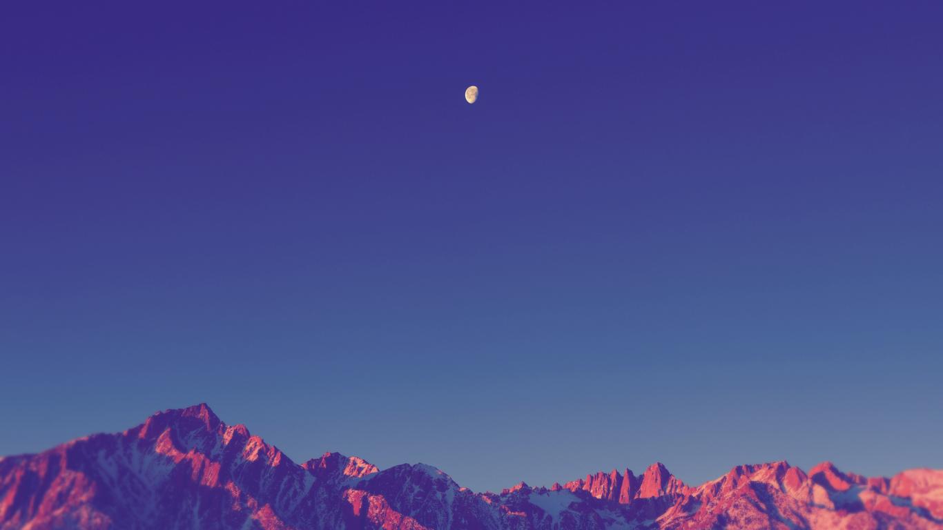 Луна в горах ночь луна горы