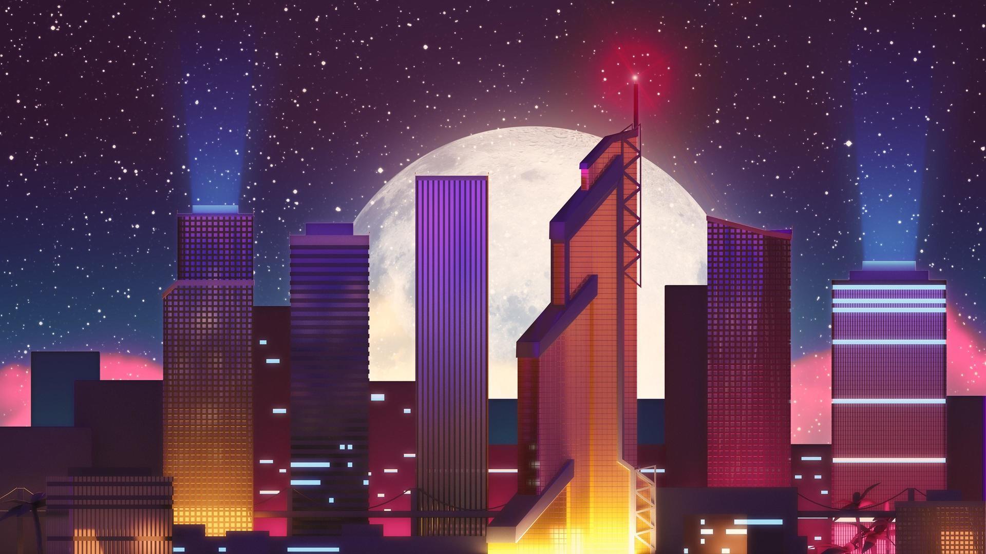 Ночной город ночь луна город