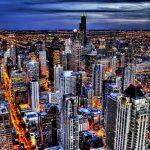 Огни ночного Чикаго ночь город
