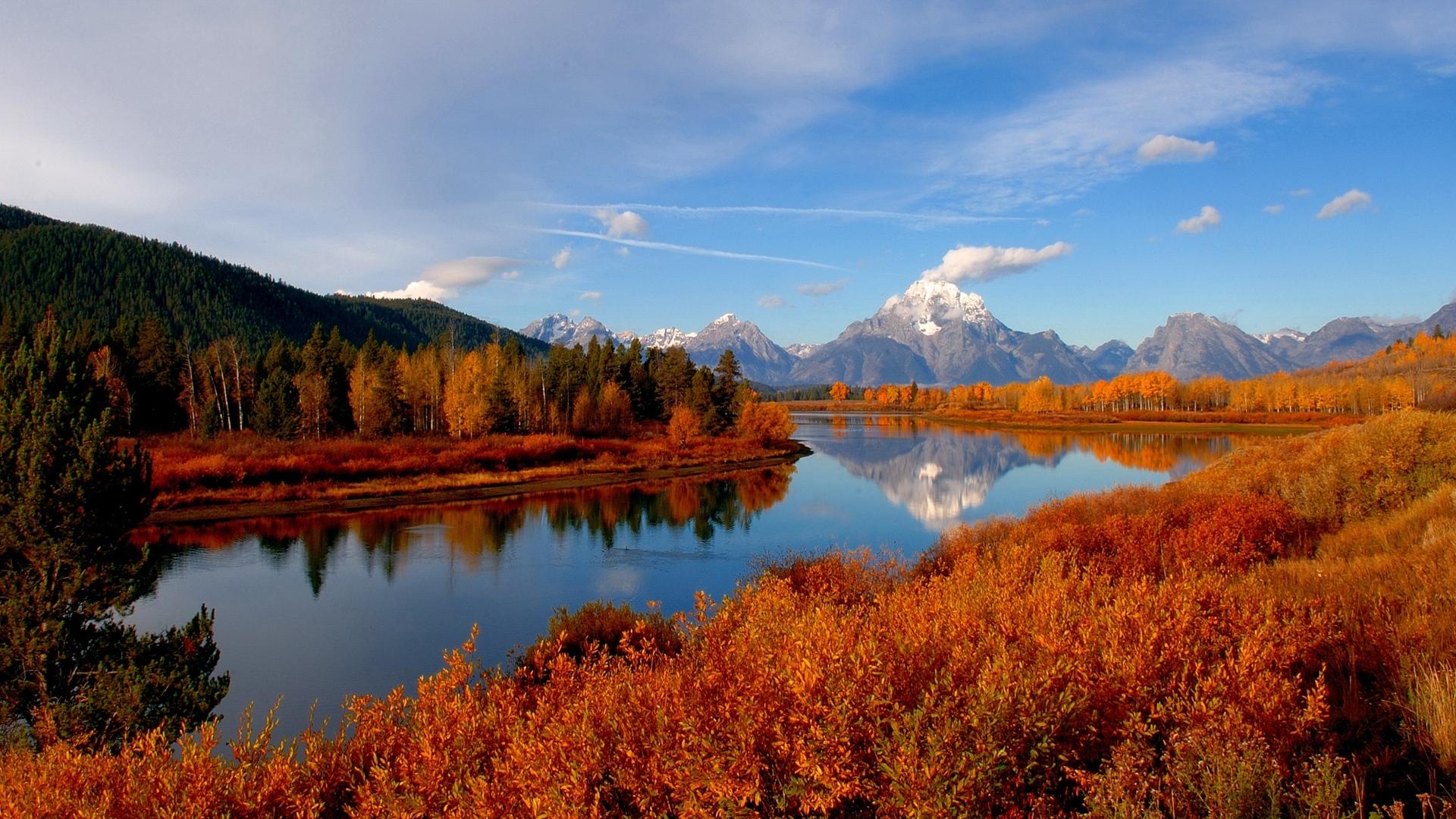 Осенняя река река осень горы вода