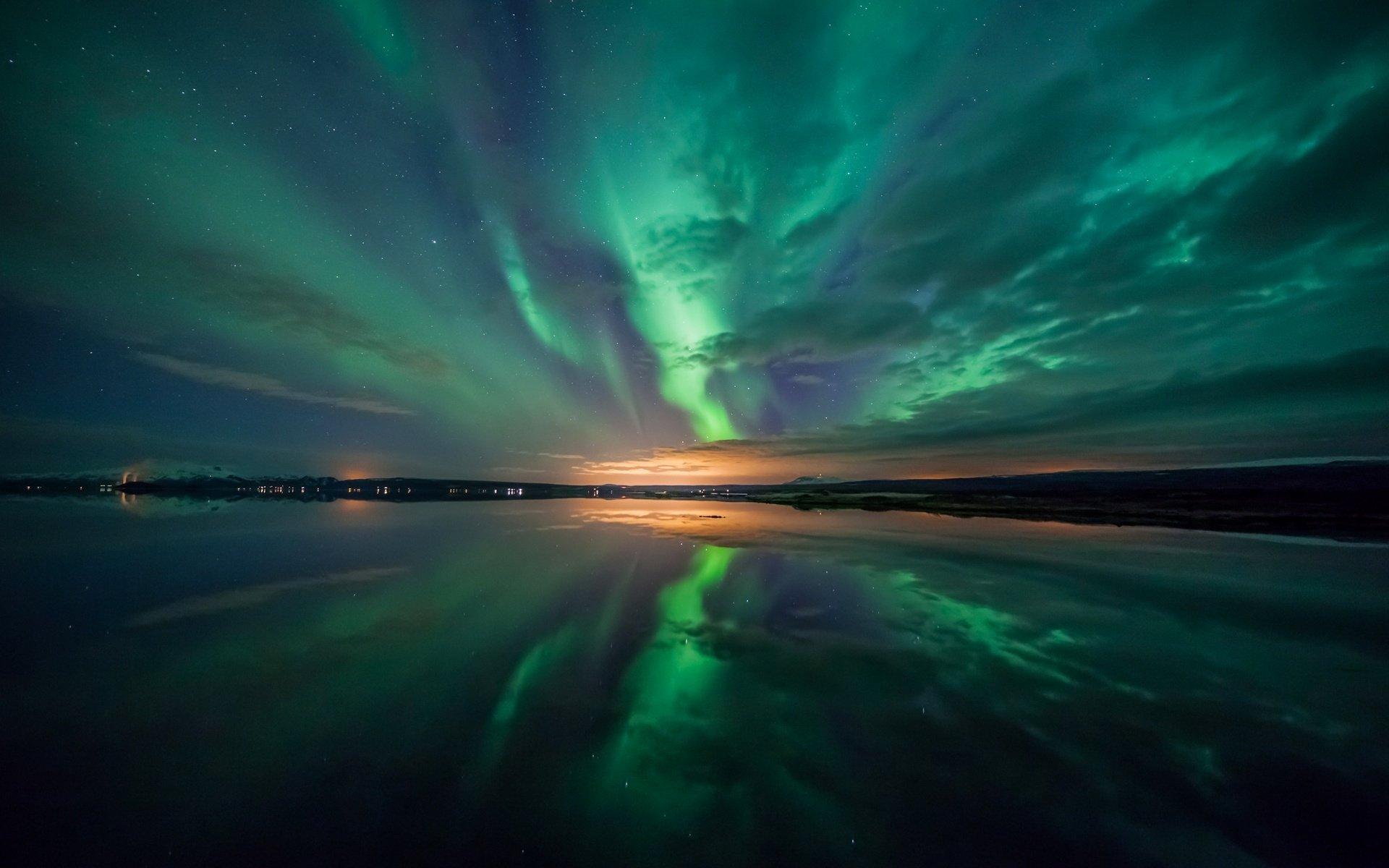Полярное сияние полярное сияние ночь небо