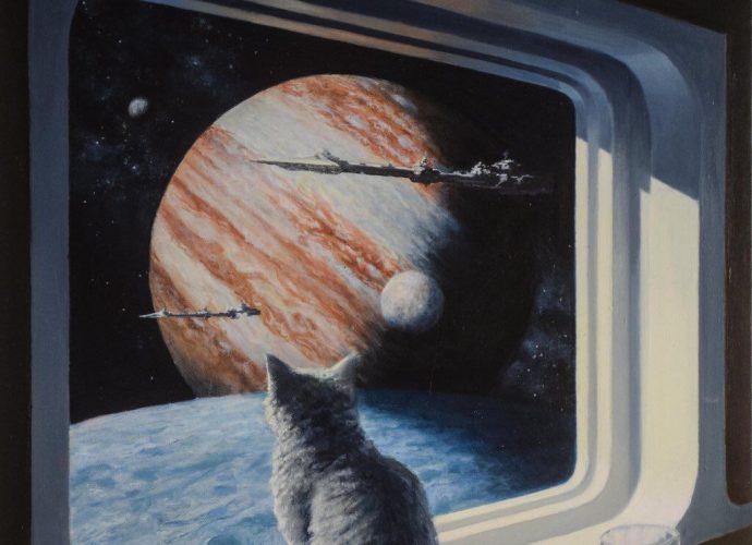 Смотря на проплывающие планеты планеты окно кот