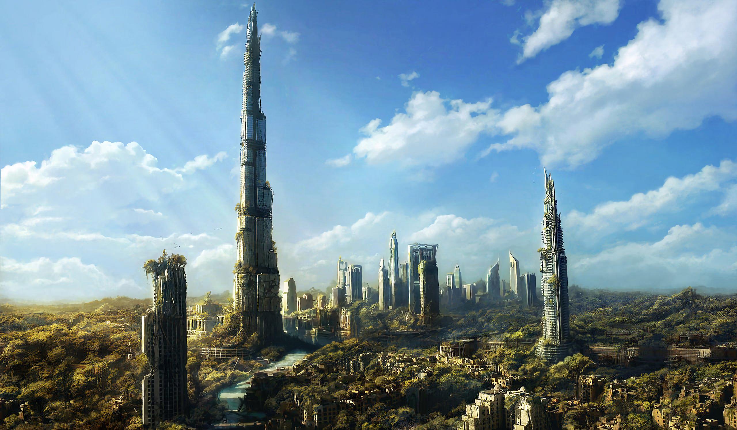 Разрушенный Дубаи небоскребы город