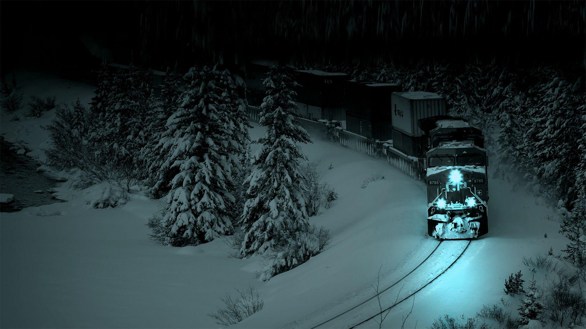 Ночной экспресс поезд ночь зима