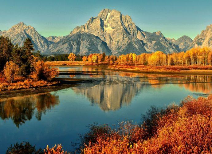 Осенний пейзаж река осень лес горы
