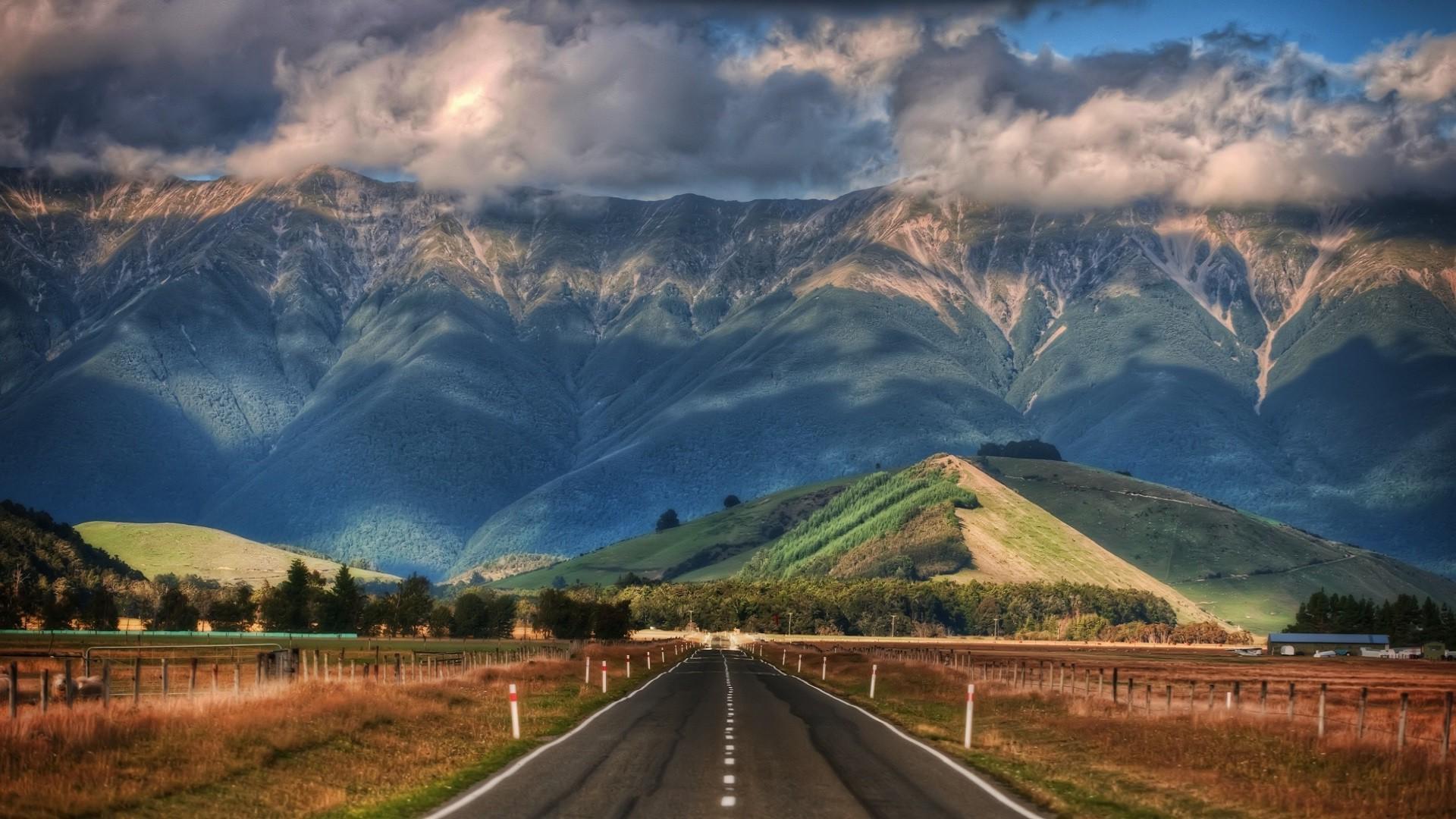 Пейзажи Новой Зеландии Новая Зеландия дорога горы