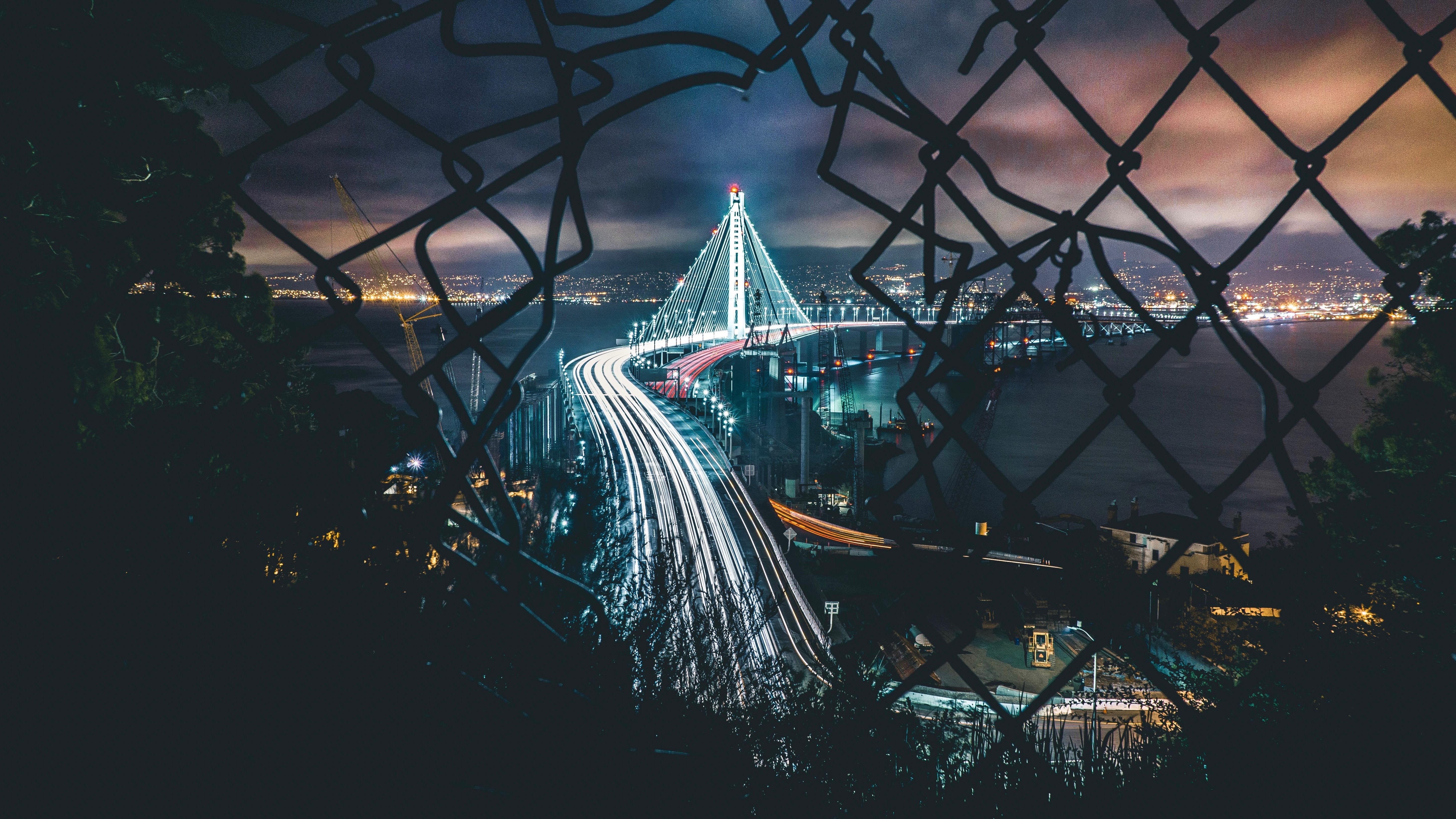 Вид на ночной город ночь мост город