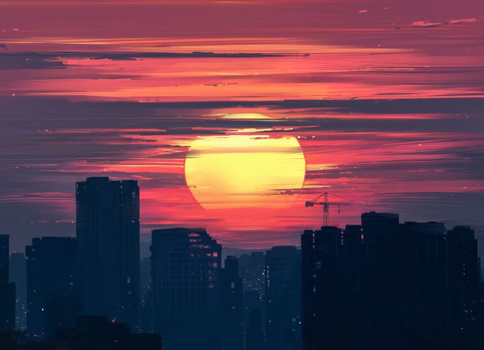 Закат небоскребы закат город