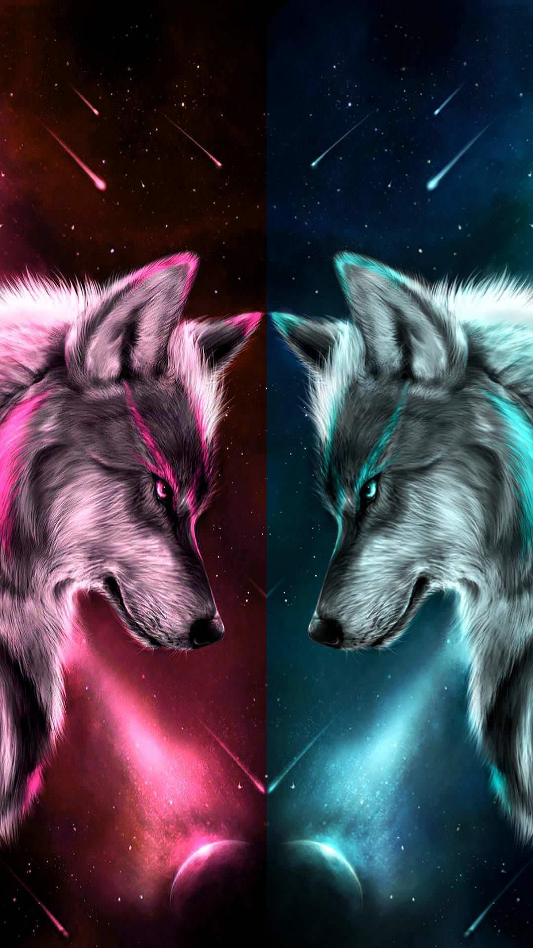 Два волка ночь неон волк
