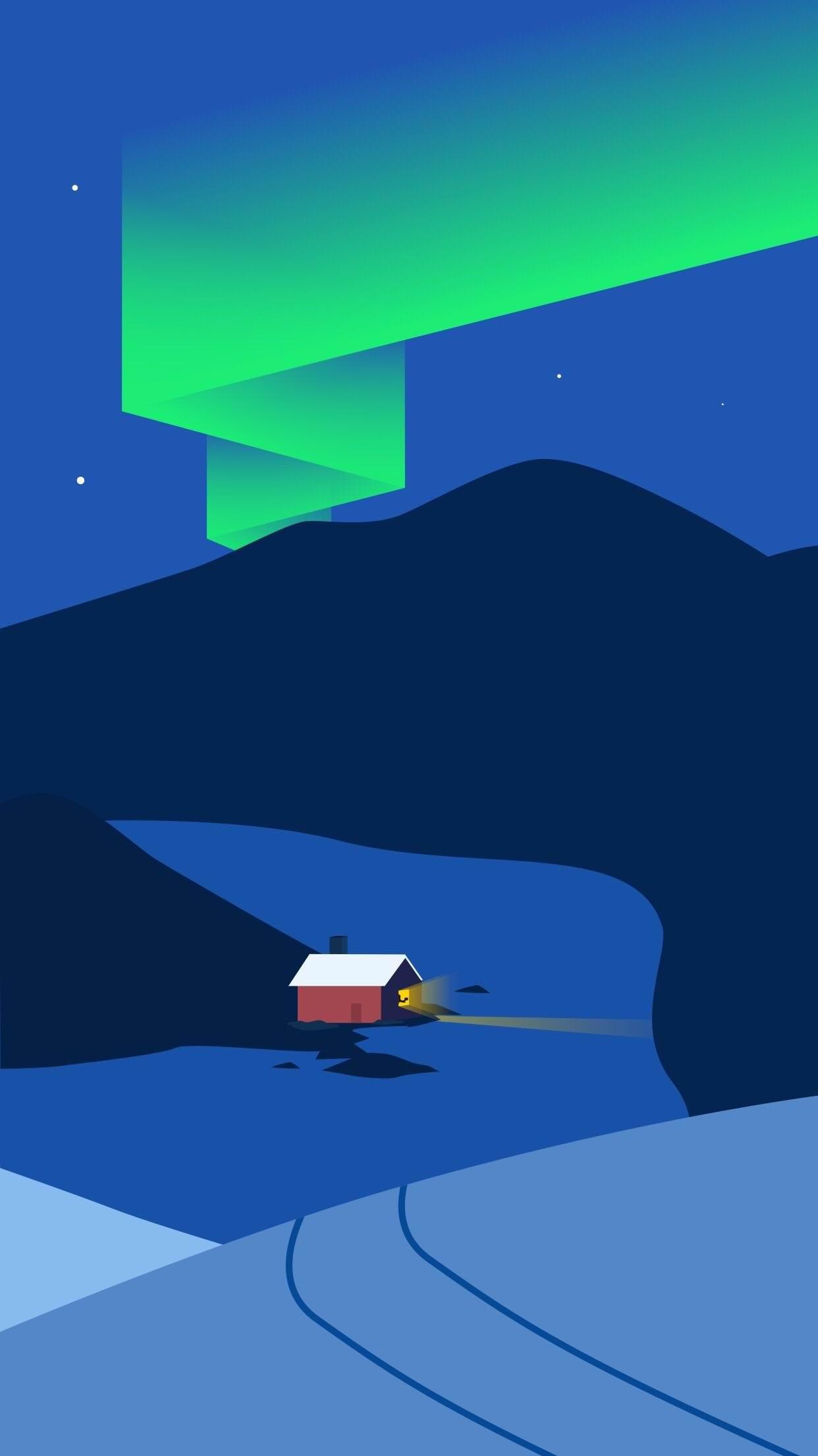 Северное сияние северное сияние ночь зима