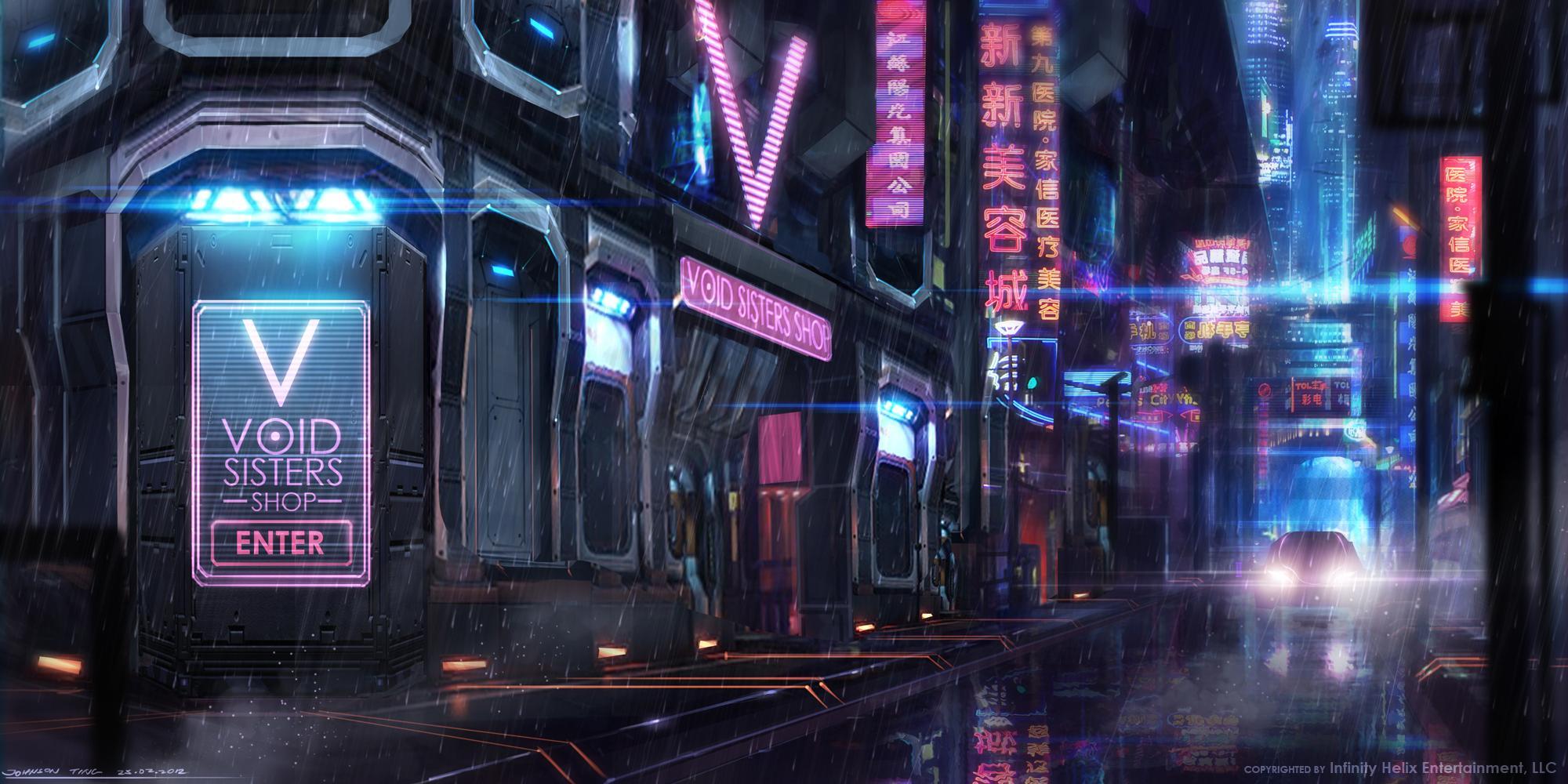 Город в стиле киберпанк ночь неон киберпанк дождь город