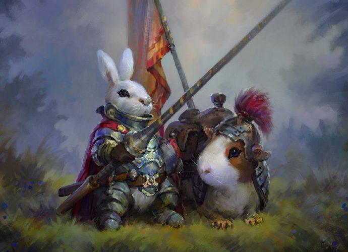 Кролик-рыцарь хомяк фэнтези рыцарь кролик