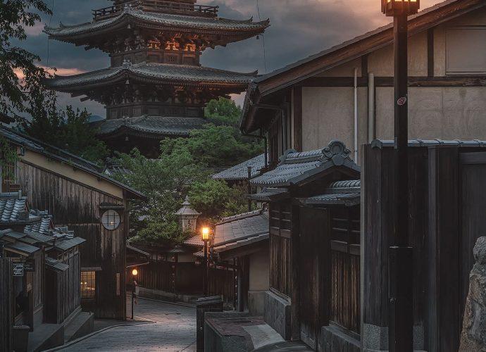Квартал Гион Япония закат город