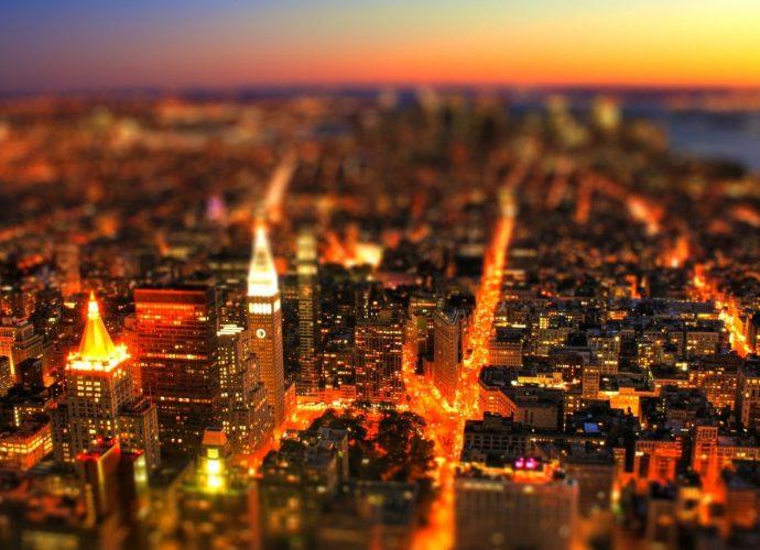 Огни большого города ночь небоскребы город