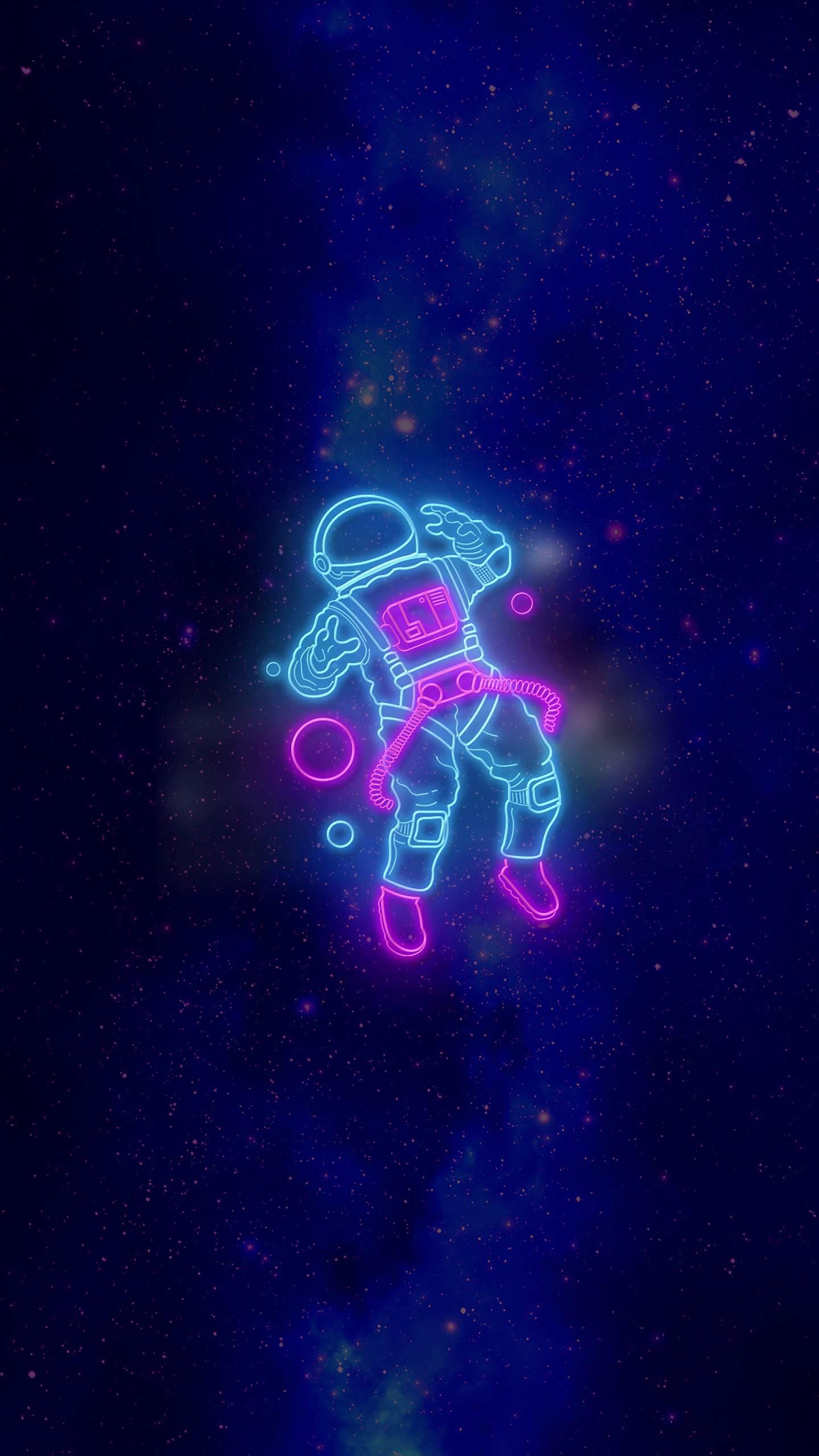 Неоновый астронавт неон звезды