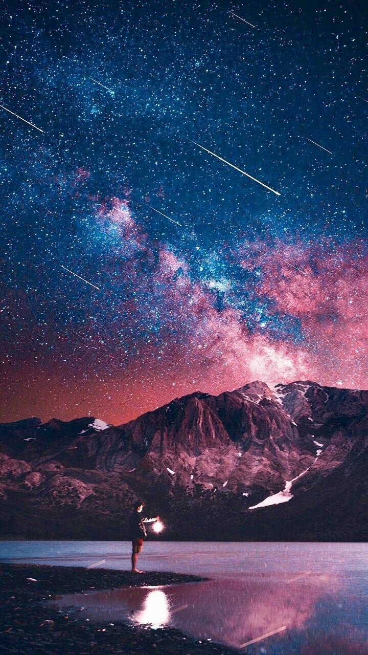 Звездопад озеро ночь звезды