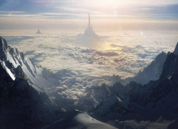 Замок Асгард облака горы