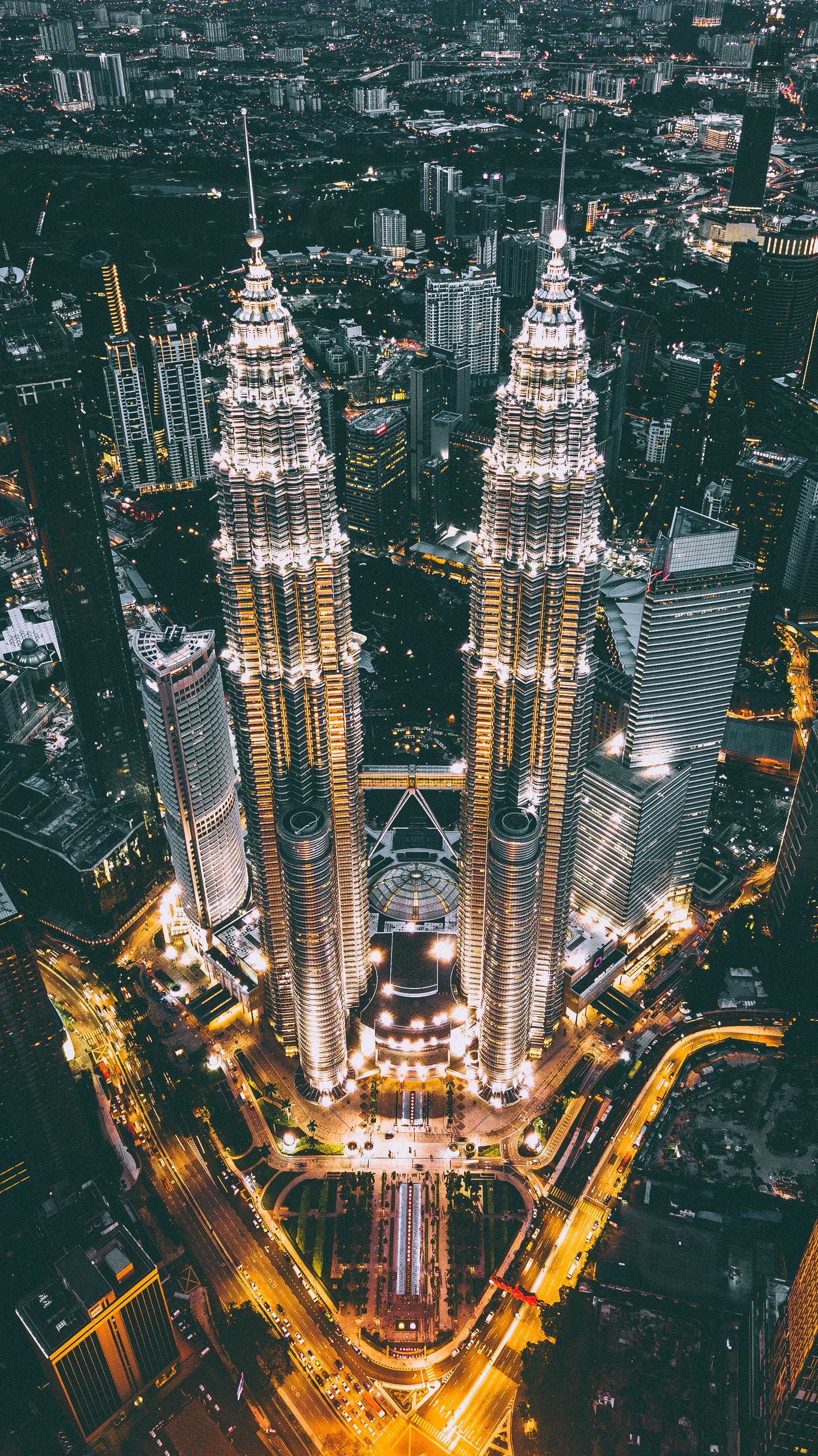 Небоскрёбы Куала-Лумпур ночь небоскребы