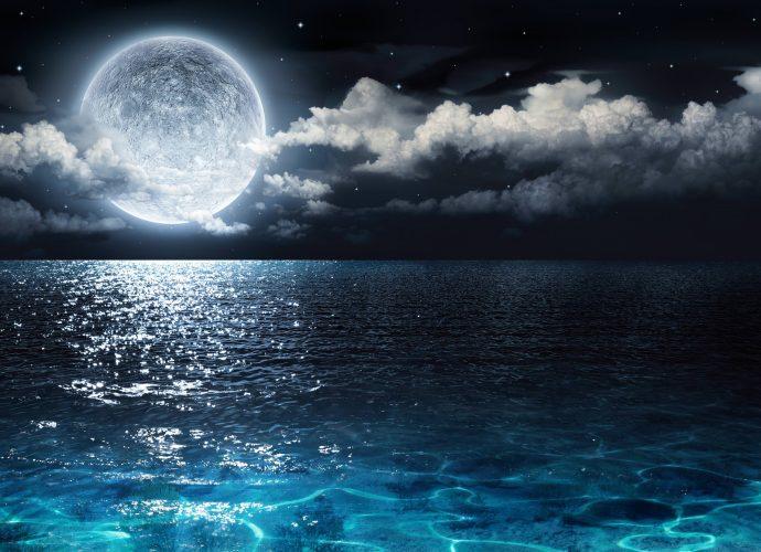 Полная луна ночь море луна