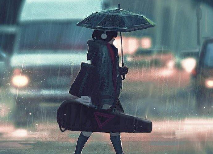 Девушка под дождём музыка дождь