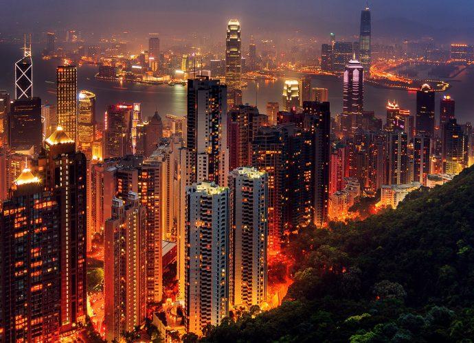 Небоскрёбы Гонконга ночь небоскребы Гонконг