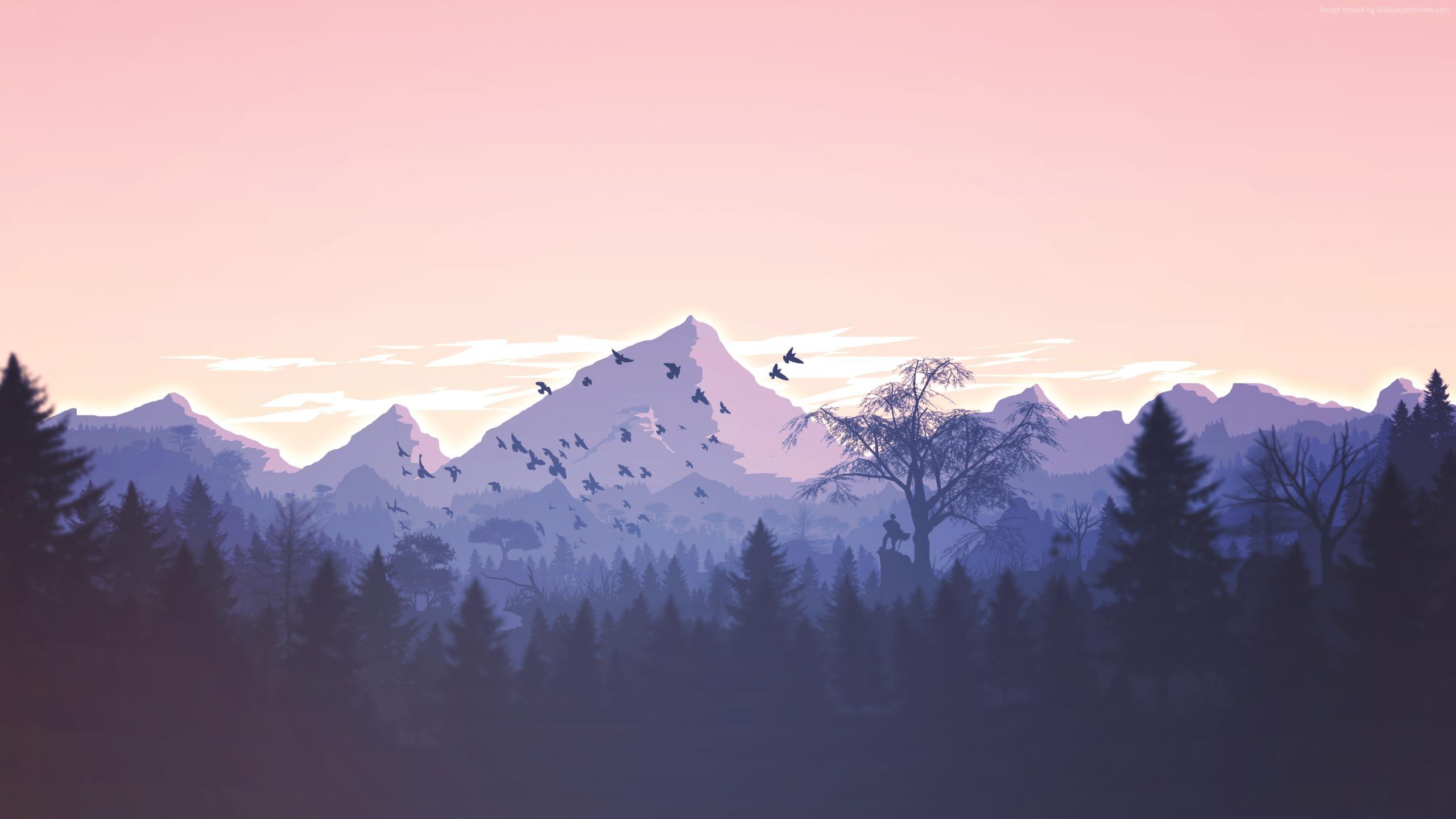 Закат в горах птицы закат горы