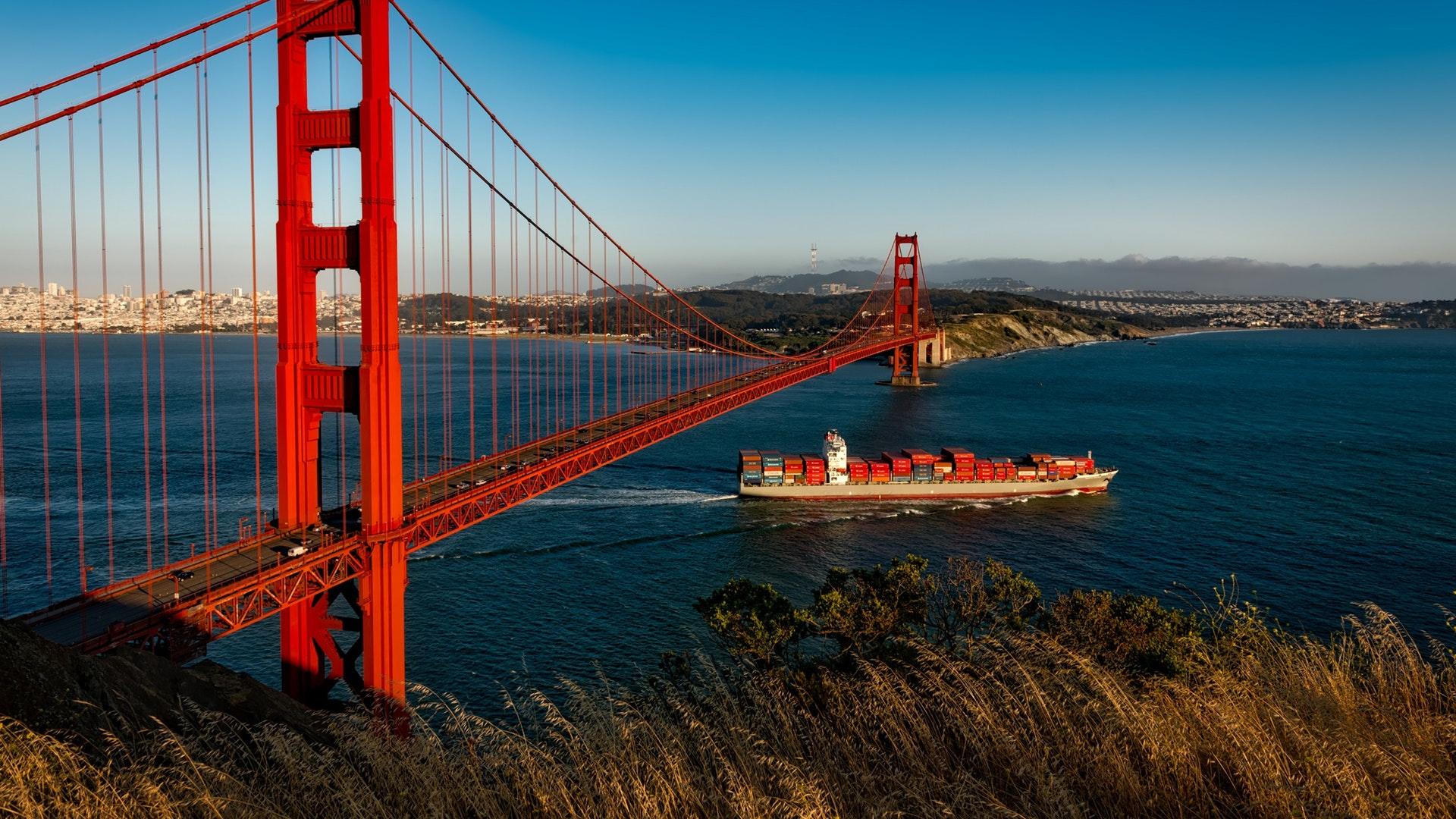 Мост Золотые ворота река мост корабль