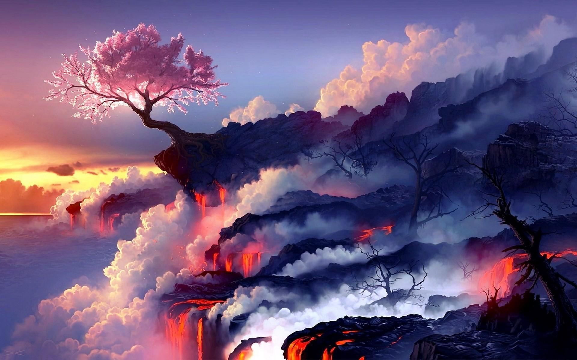 Потоки лавы лава дерево вулкан