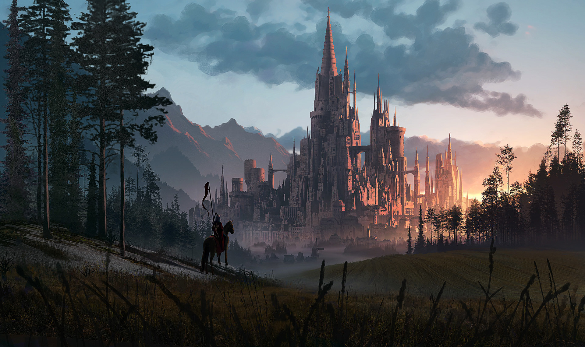 Рыцарь у средневекового замка рыцарь лошадь замок закат