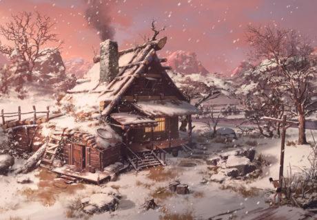 Дом в зимнем лесу снег зима дом деревня вечер