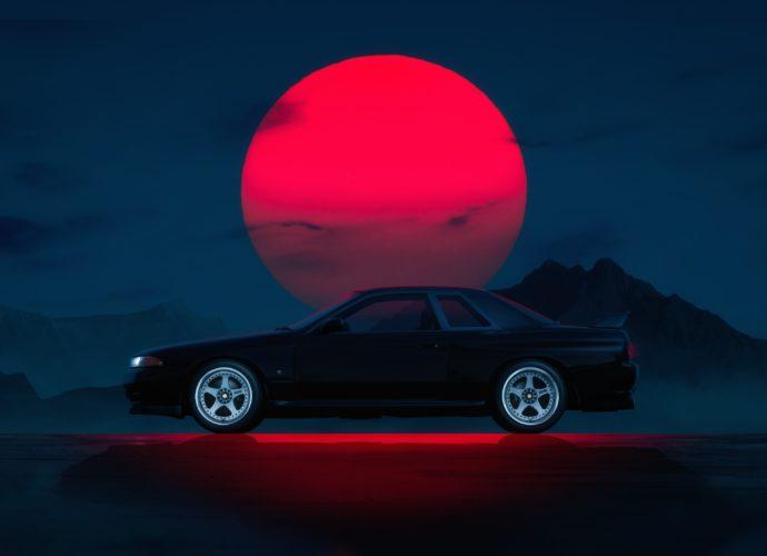 Nissan Skyline GT-R R32 ночь закат Nissan