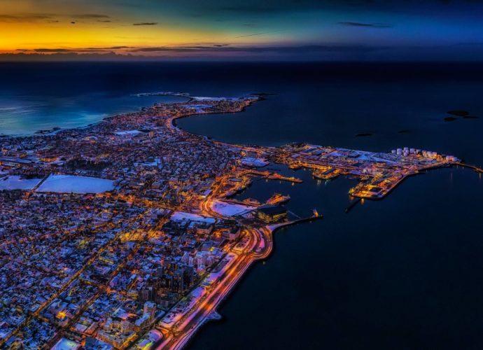 Рейкъявик, Исландия Рейкъявик ночь море закат город