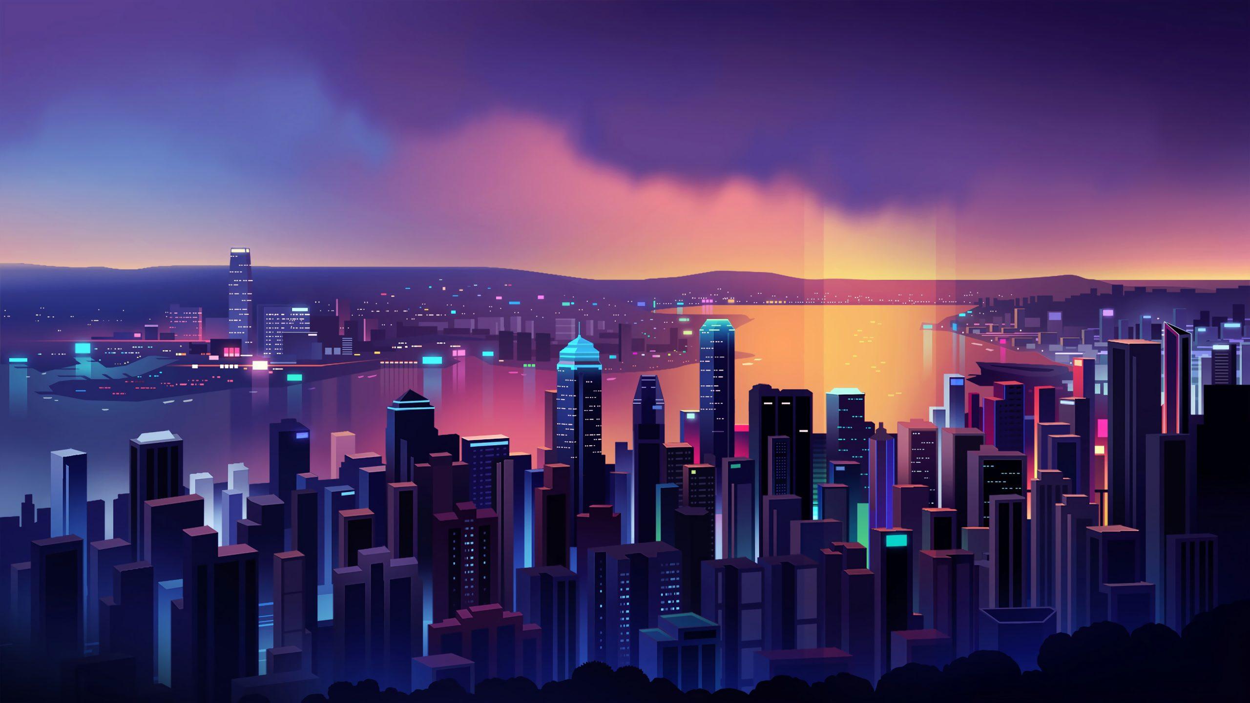 Неоновый город ночь неон город