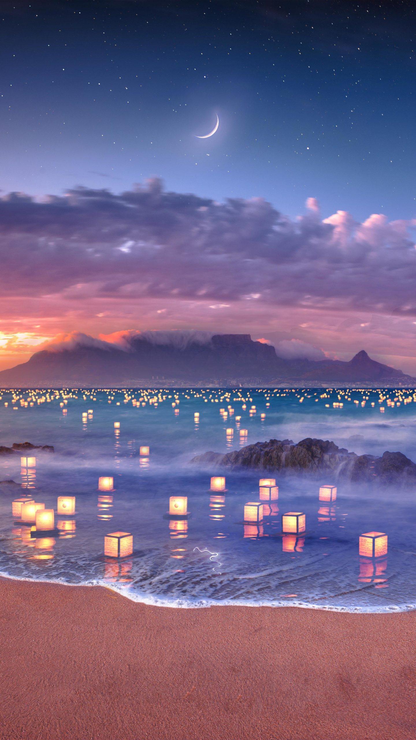 Морские фонарики Япония фонарик пляж огонь облака ночь море луна звезды горы