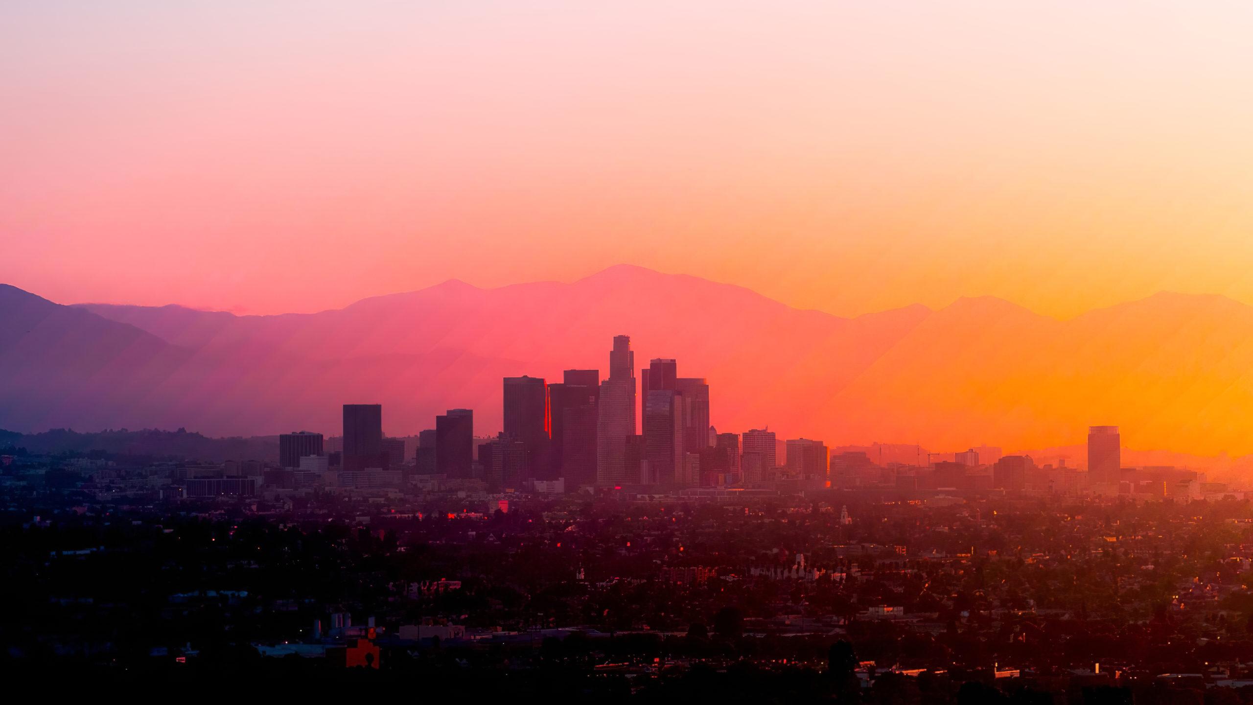 Лос-Анджелес США Лос-Анджелес Калифорния горы восход