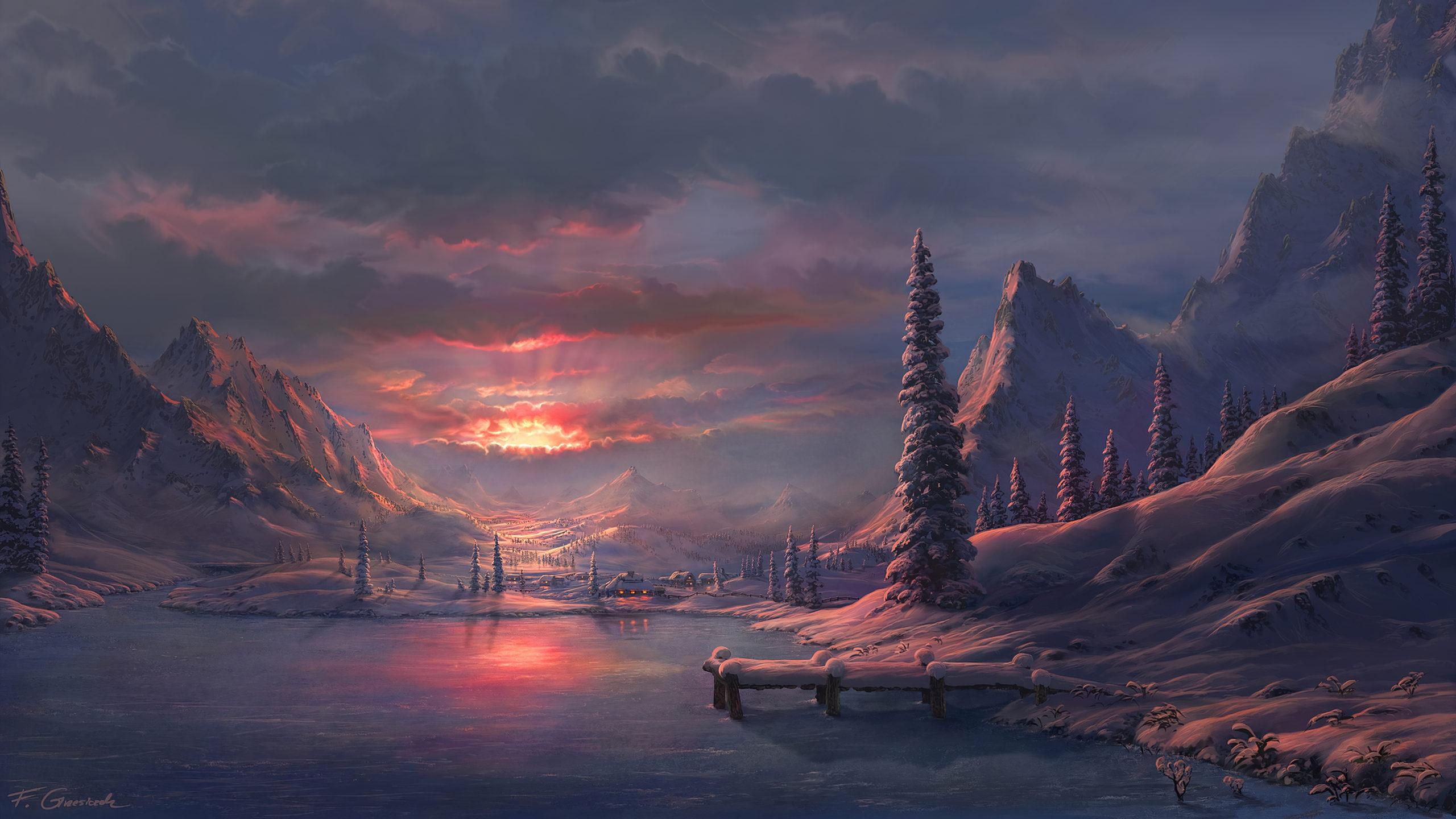 Закат зимой снег озеро лес лед зима закат деревья