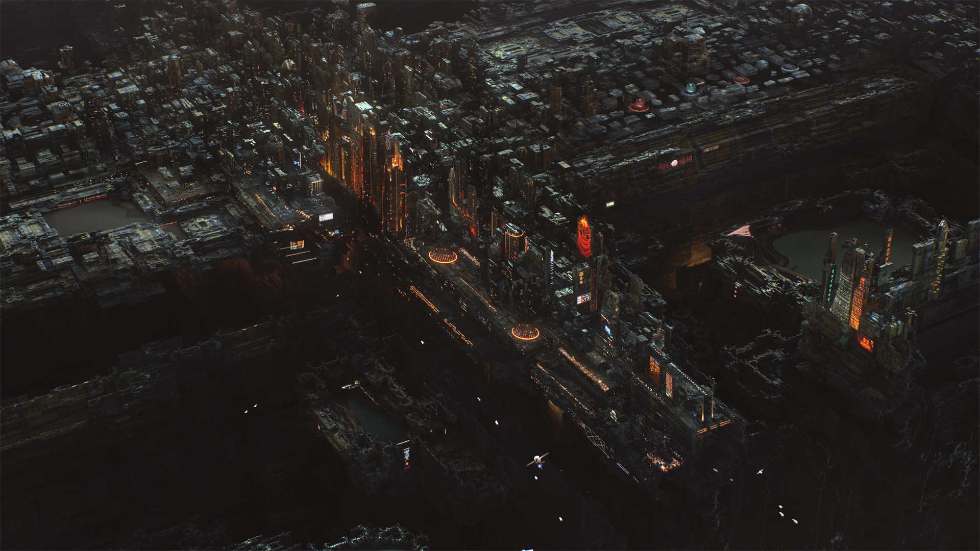 Город будущего ночь киберпанк город