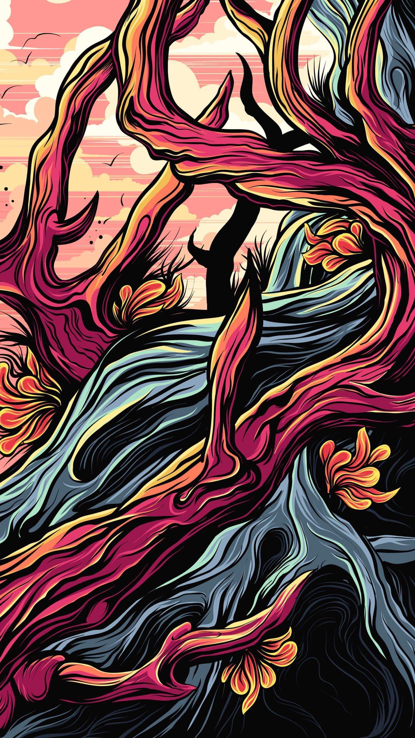 Корни краски дерево