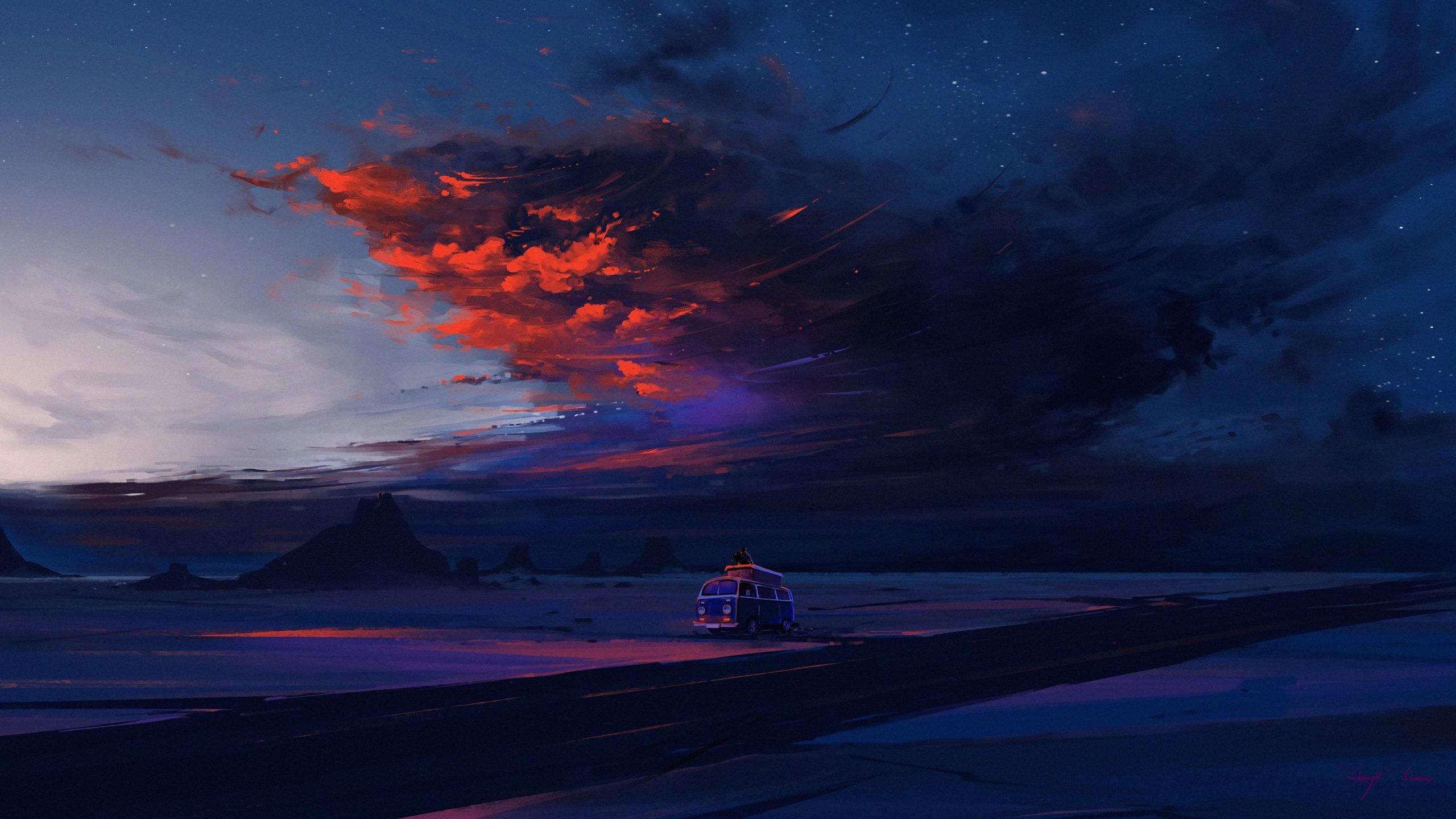 Наблюдающие за облаками облака ночь звезды дорога влюблённые