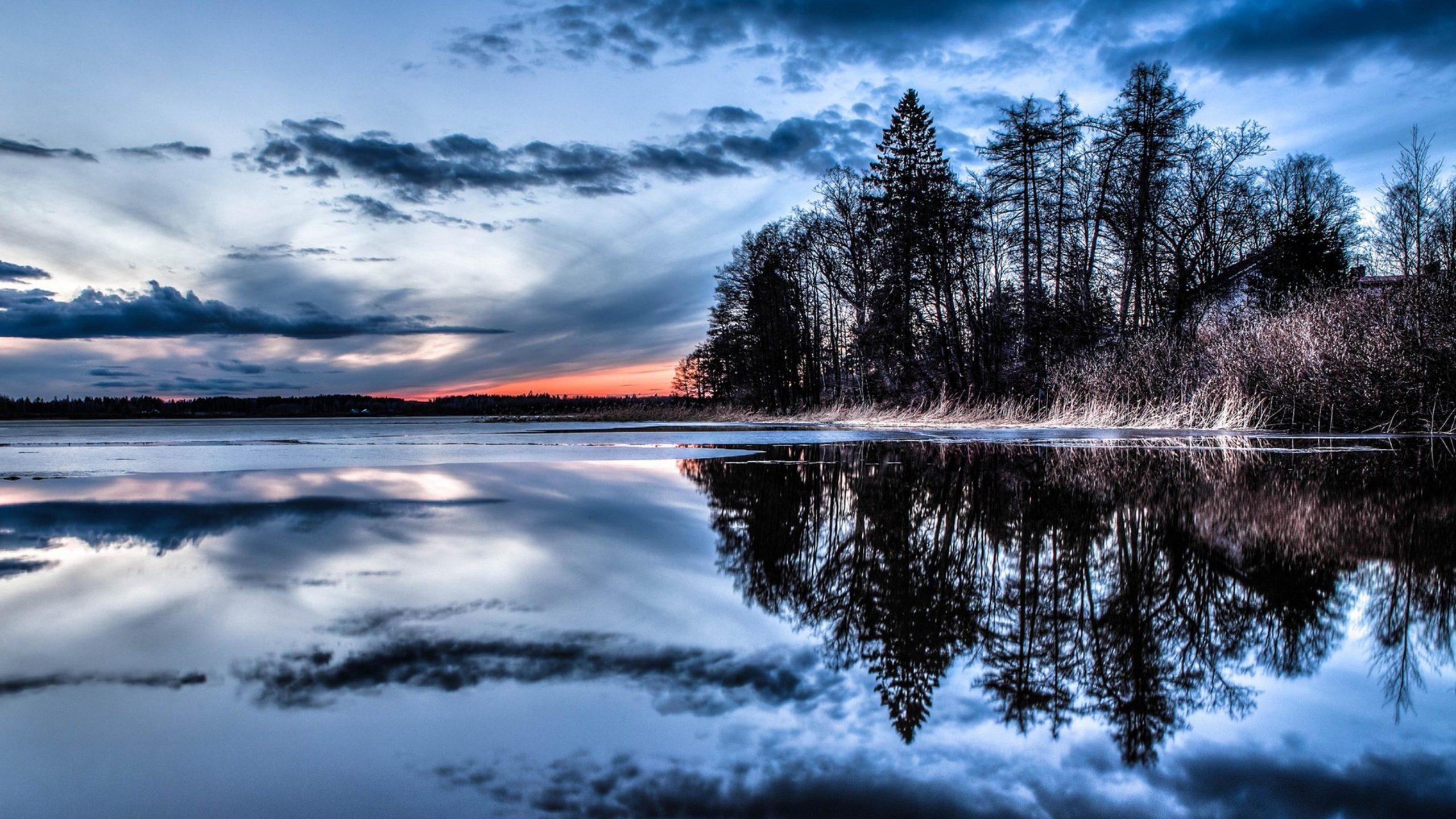 Отражение озеро закат вода вечер