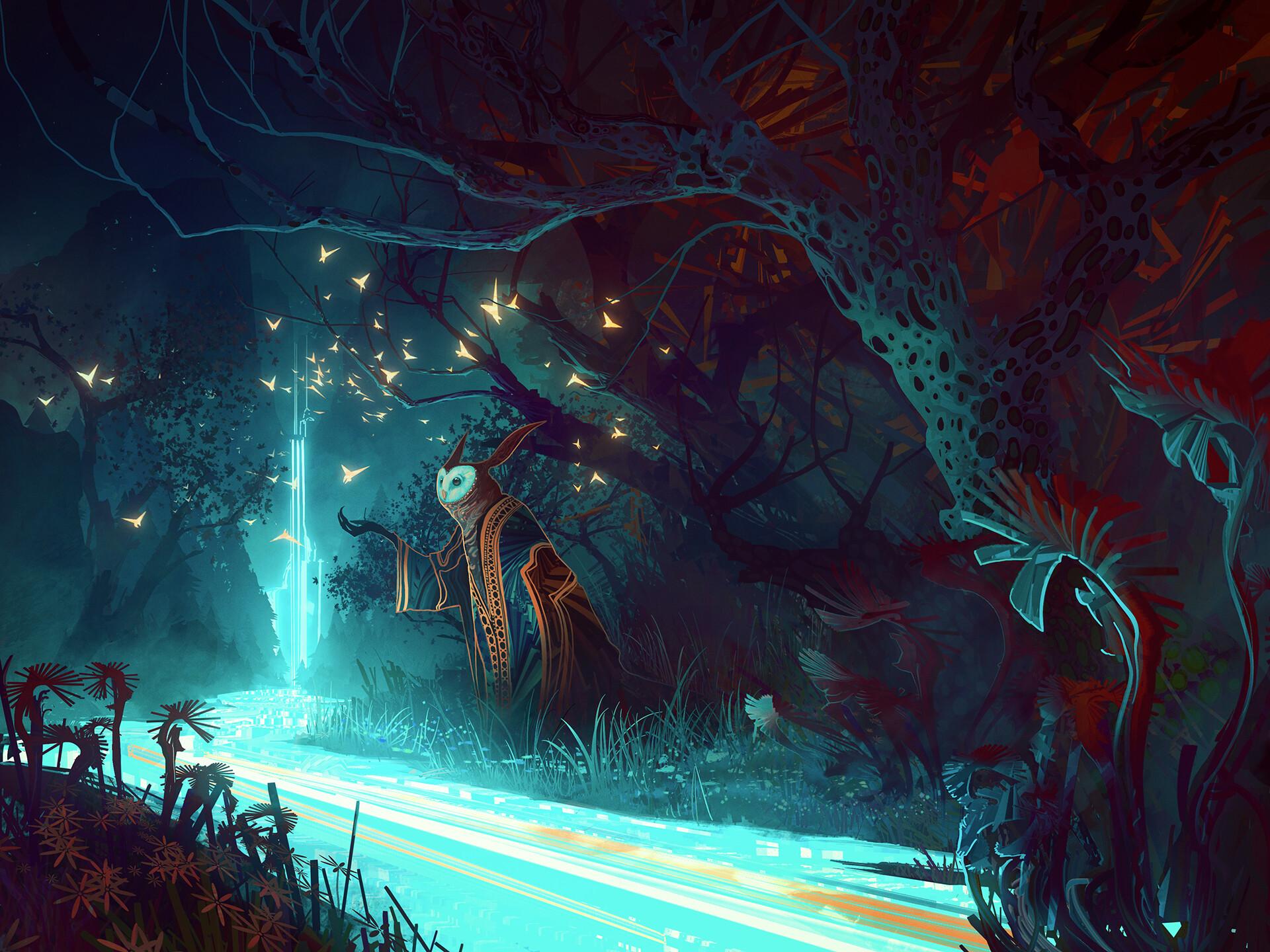 Мастер Сова сова ночь лес дорога