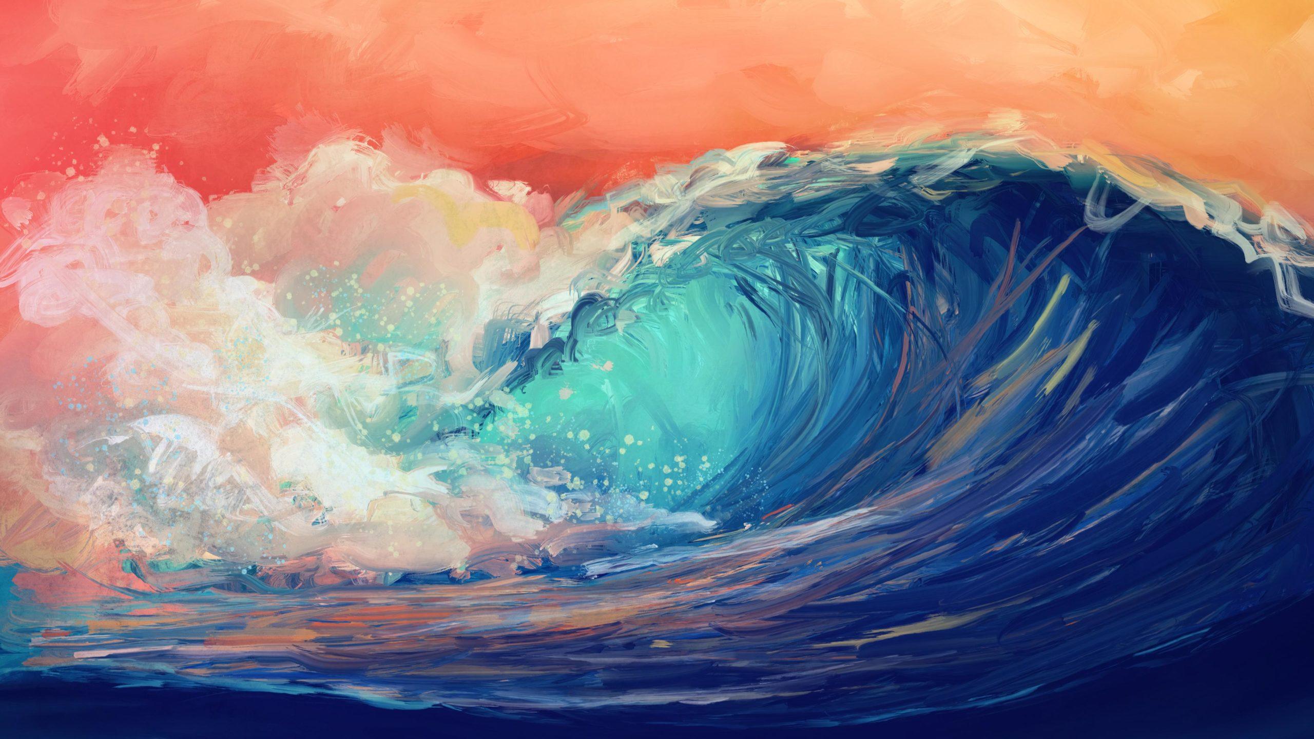 Волна цвета море живопись