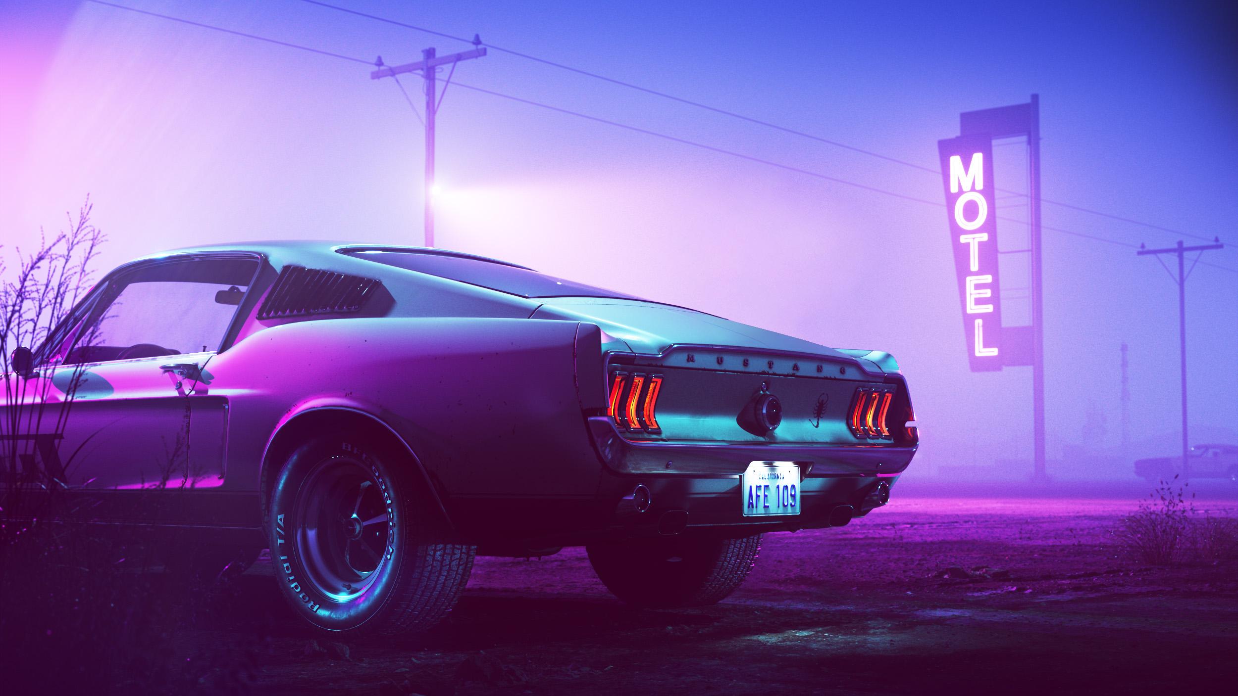 Неоновый Ford Mustang ночь неон автомобиль mustang ford