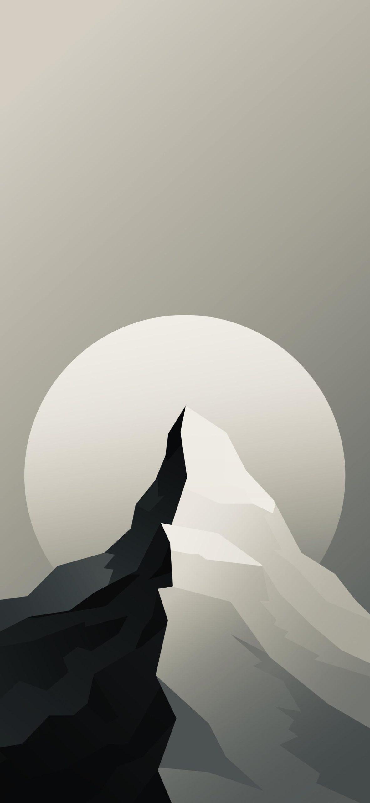 Чёрное и белое черно-белое солнце луна горы