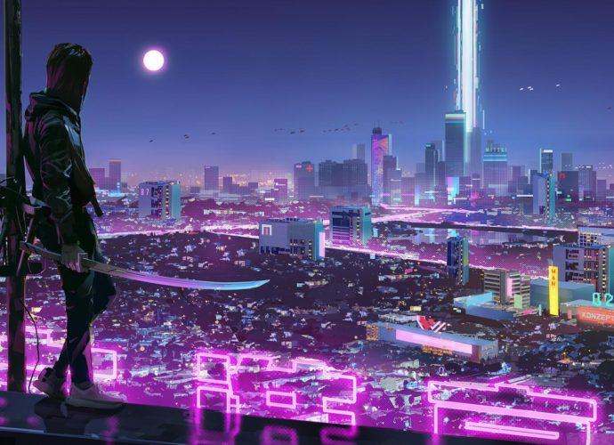Воин будущего ночь неон луна киберпанк город