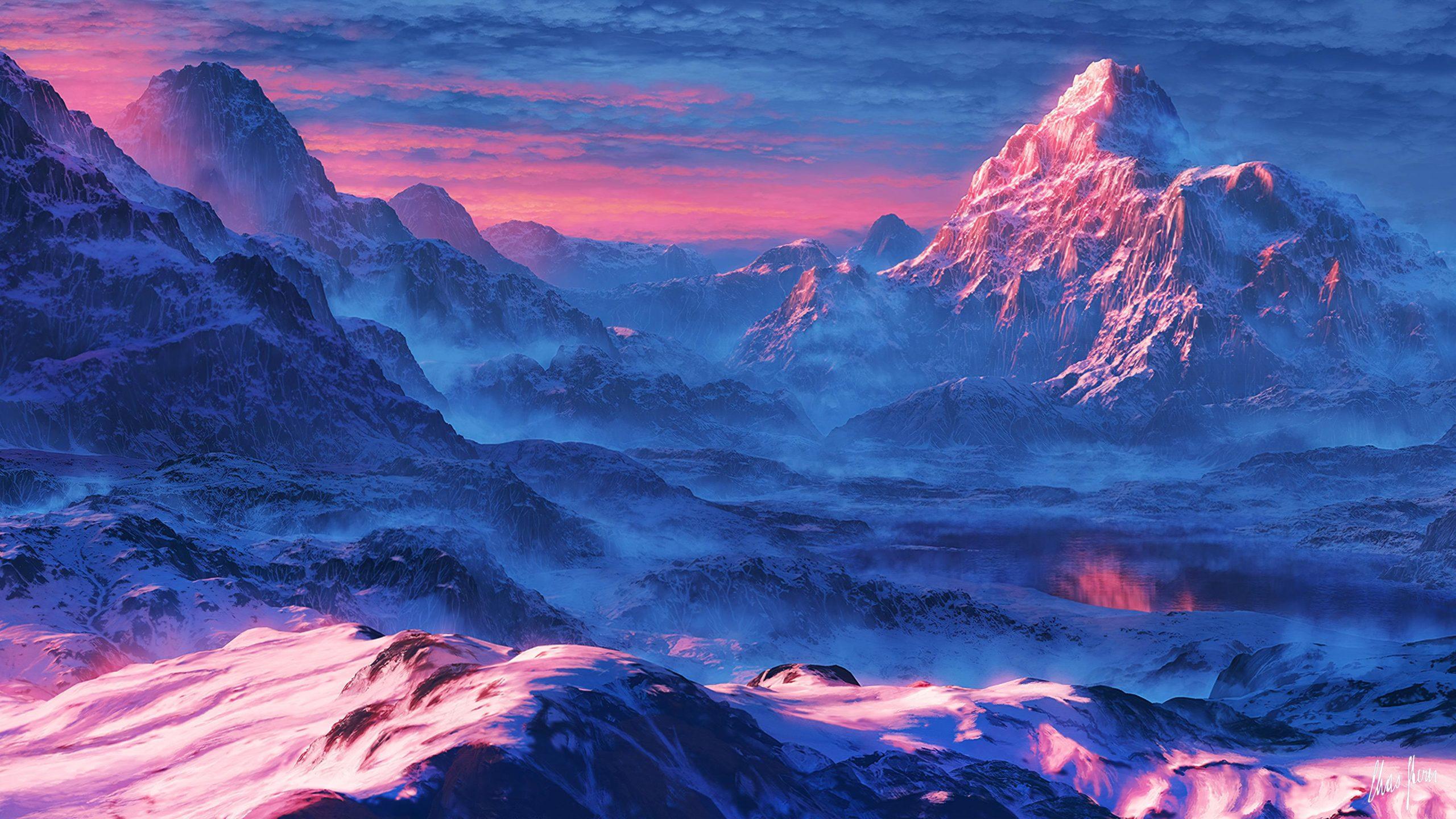 Рассвет в снежных горах снег рассвет небо горы