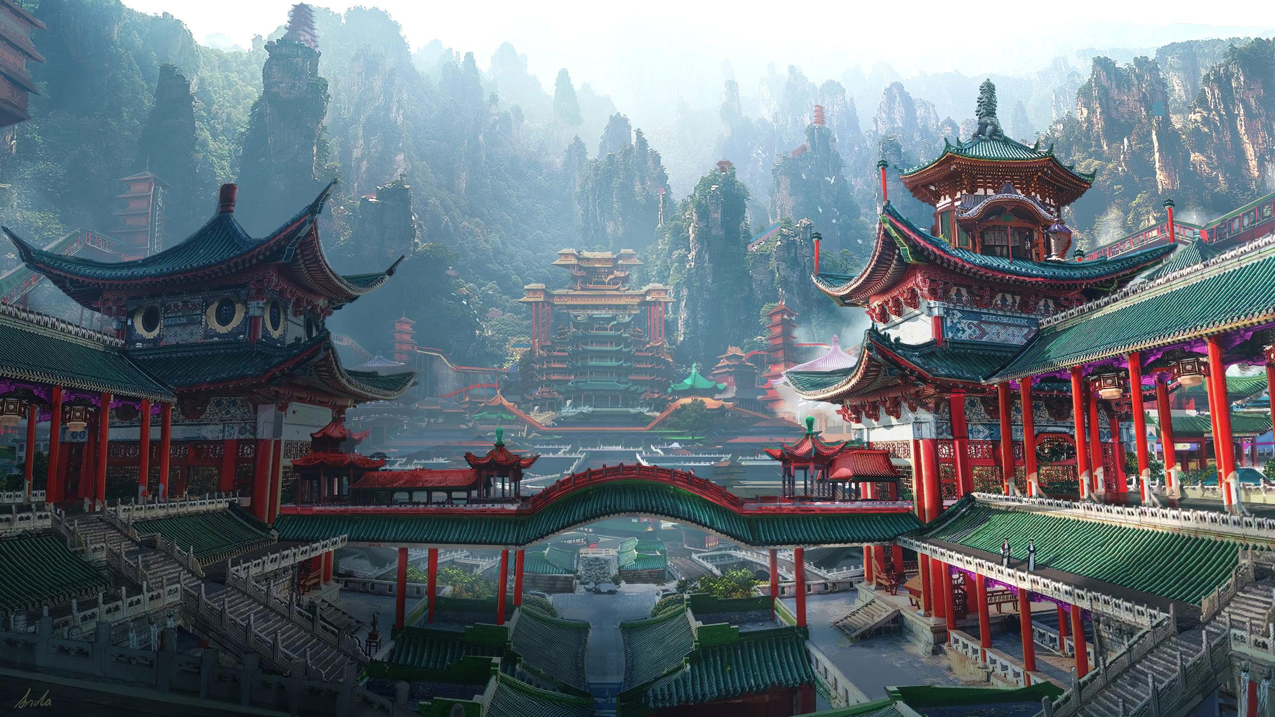 Китайский дворец Китай дворец горы