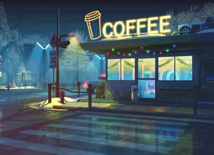 Кофейня ночь неон кофе зима город